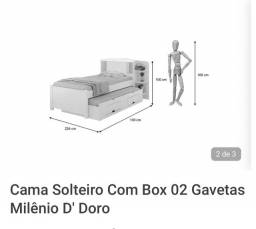 Cama solteirão,com duas gavetas,baú ,estante e cama auxiliar.