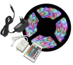 Fita de Led 5050 RGB com controle + Fonte