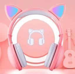 Fone Orelha De Gatinho Bluetooth Com Led