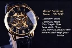 Relógio Forsining Mecânico Luxo De Couro Masculino