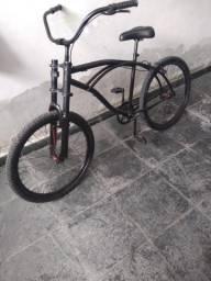 Bicicleta Praieira preta barato pra sair hoje 219.99 c/ aro aero, rolimã e amortecedor