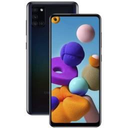 """Celular Smartphone Samsung A21s Preto 64GB Tela 6.5"""" Câmera 13MP"""
