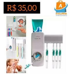 Kit Dispenser Automático P/ Creme Dental e Porta Escovas + Entrega Grátis