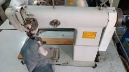 Máquinas de costura coluna transporte triplo e debruadeira