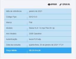 Siena HLX 2008/2008 - valor abaixo tabela fipe