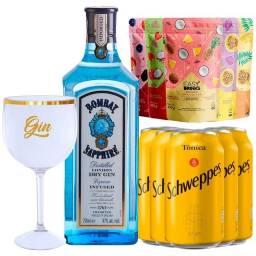 Gin Bombay Saphire 750ml + 5 Água Tônica + 5 Sachês