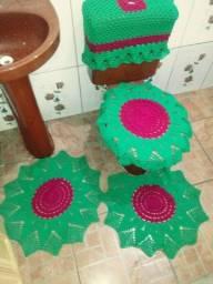 Conjunto de 4 peças de barbante pra banheiro
