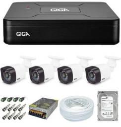 Kit câmeras 4 câmeras GIGA instalação grátis.