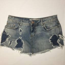 Shorts Saia Jeans Destroyed Zara Tamanho 38