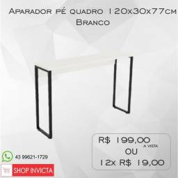 Aparador Home Office Branco Pé Quadro 120x30x77cm / Nova / NFE