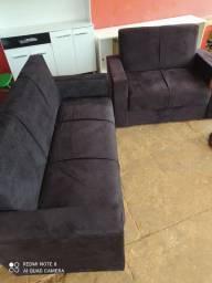 Vendo jogo de sofá na cor preta entrego