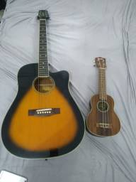 Violão elétrico + ukulele