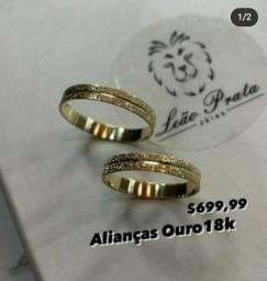 ALIANÇA OURO18K 699.99 ATE 10X S JUROS LEAOPRATA