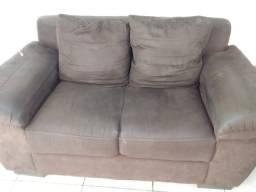Sofa suede semi novo 2 e 3 lugares