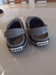 Crocs Infantil Crocband - Cinza+Azul<br><br>Tamanho: C7 (= 25 Brasil)
