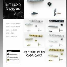 Kit Acessórios Para Banheiro Luxo Vildrex Kit Reto/Kit Canto