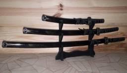 kit com 3 Peças em Aço e Suporte - Confeccionadas por Artesão Samurai mestre Utida