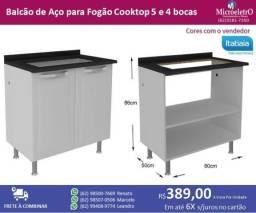 Balcão de Aço Itatiaia para Fogão cooktop 5 e 4 bocas