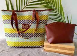 Conjunto bolsa de praia mais carteira luxo Djaque