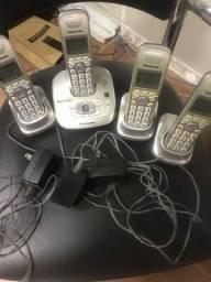 Telefone Panasonic sem fio base com 3 ramais
