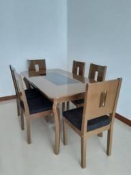 Jogo de mesa 6 cadeiras - Cor Carvalho