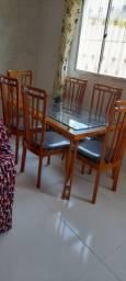 Mesa de vidro c/6 cadeiras