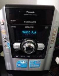 Micro Sustém Panasonic 540 w com Subwoofer , gaveta 5 cds
