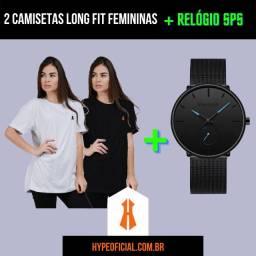Mega Promoção Hype. 2 Camisetas Femininas Long Fit + Relógio SPS