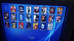 PS3 SUPER SLIM DESBLOQUEADO ATUALIZADO COM 1 CONTROLE NOVO HD 250 GIGAS LOTADO DE JOGOS..