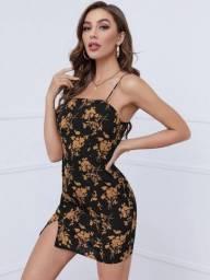 Vestido femenino Zíper Floral Boho Vestido