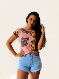 Blusa Tshirt Feminina Estampa Floral