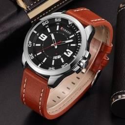 Relógio Masculino Curren Analógico 8213 - Prata e Marrom-Caramelo