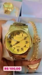 Relógio + Pulseira + caixa - Dia das mães