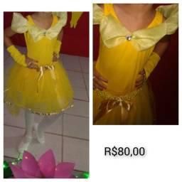 vestido infantil bela - Tema bela e a fera