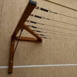 Varal dobrável com cabo de aço e molas