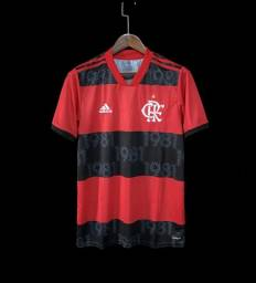 Camisa Flamengo I 21/22 s/n° Torcedor Masculina - Vermelho+Preto<br><br>