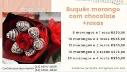 Buquês de morango com chocolate a partir de 30,00