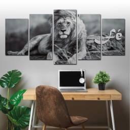 Quadro Leão Poderoso e Belo, Fé, Mosaico 5 peças (Promoção)