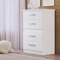 Cômoda branca para quarto com 4 gavetas, 100% MDP, fácil montagem, puxador cromado, novo.
