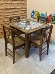 Conjunto de mesa rústica
