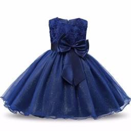 Vestido infantil Azul para festa casamento batizado pronta entrega