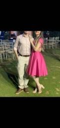 Conjunto para casal, Vestido rosa e calça beje