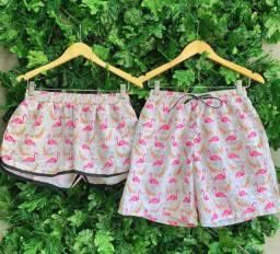 Kit Casal Shorts Praia Bermuda Mauricinho Flamingo Bebida