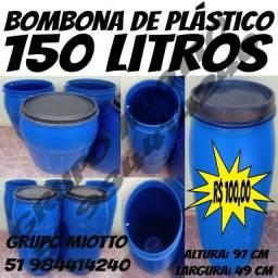 Bombona 150 Litros de plástico com Tampa Removivél
