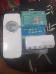 Despenser de pasta de dente, com suporte para escova