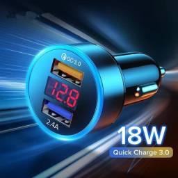 Carregador celular veicular com voltímetro Qualcomm QC3.0