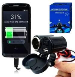 Tomada Carregador Celular Moto USB 12v GPS