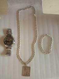 6bcafd2722b Conjunto de cordao e pulseira de prata + relogioTechnos original