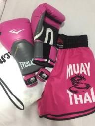 Luva de Muay Thai Everlast Pro Style Elite 12oz + Bandagem Venum + Short treino Muay thai