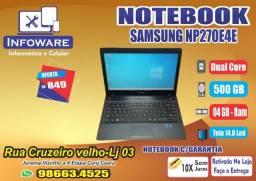 Notebook Samsung Dual Core HD500GB/04GB Memoria/Garantia